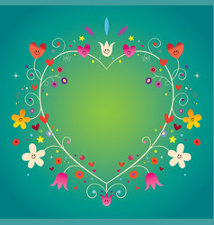 Heart shaped ornamental decorative romantic frame vector