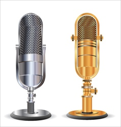 Old microphone gold and silver vector