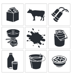 Milk production icon collection vector