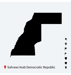High detailed map of sahrawi arab democratic vector