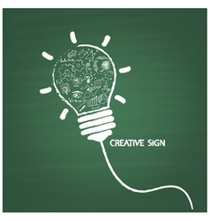 Creative light bulb handwriting on blackboard vector