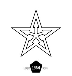 Minimal monochrome vintage star with arrows on vector