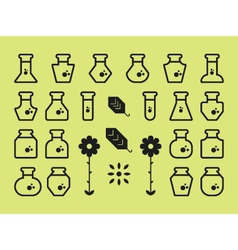 Flat alchemy icons vector