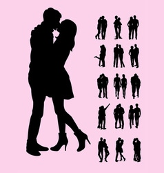 Couple silhouettes vector