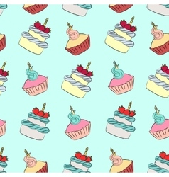 Seamless cream cupcake and cake pattern vector
