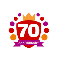 70th anniversary colored logo design happy vector image vector image