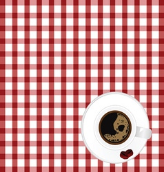 Cup of coffe with bean on tablecloth vector