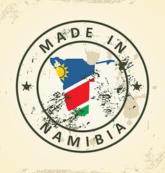 Stamp with map flag of namibia vector