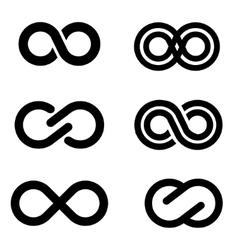 black infinity icons set vector image
