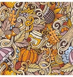 Cartoon cute doodles autumn seamless pattern vector