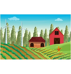 A farm with windmills and two wooden houses vector image vector image