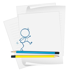 A paper with a sketch of a person walking vector image vector image