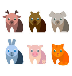 adorable baby animals with big kind innocent eyes vector image