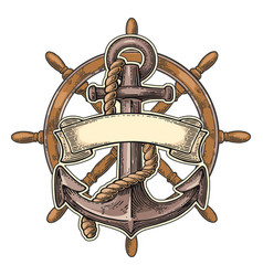 Anchor and wheel with ribbon isolated on beige vector