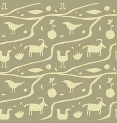 Ancient man wall painting seamless pattern vector