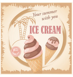 banner with summer chocolate ice cream vector image vector image