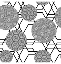 black and white seamless pattern of circles vector image vector image