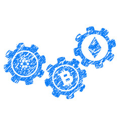 Cardano cryptocurrency gears icon grunge watermark vector