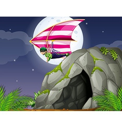 Cave and hanggliding vector