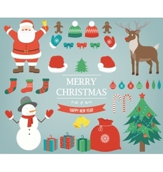 Christmas items elements and decorations set vector image vector image
