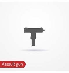 Compact assault weapon silhouette icon vector image