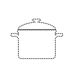 Cooking pan sign black dashed icon on vector
