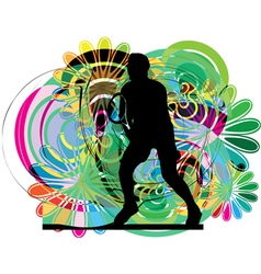 Drawing of man playing tennis vector image vector image