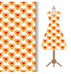 Dress fabric with cookies hearts pattern vector