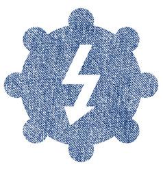 Electricity cog wheel fabric textured icon vector