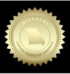 Gold star label missouri vector