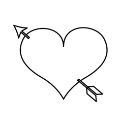 Heart love drawing with arrow icon vector