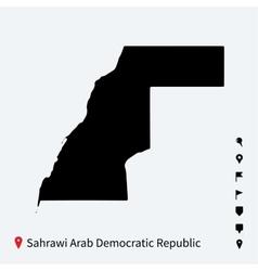 High detailed map of sahrawi arab democratic vector