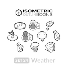 Isometric outline icons set 24 vector
