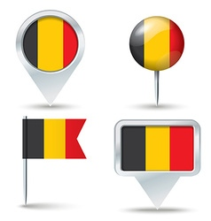Map pins with flag of belgium vector