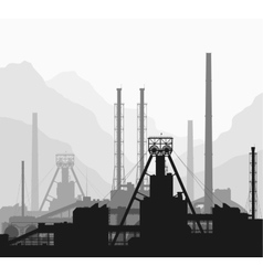 Mineral fertilizers plant over great mountains vector