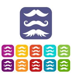 Moustaches icons set vector