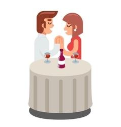 Romantic beloved dating man woman food dinner wine vector