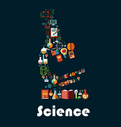 science poster with microscope symbol vector image