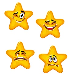 Set of glossy cartoon stars vector image vector image
