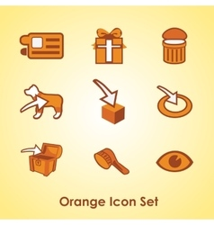 Set of nine different orange objects vector image vector image