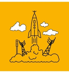 Start of the rocket in clouds vector image vector image