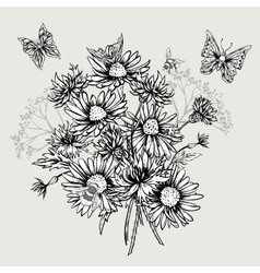 Summer Monochrome Floral Bouquet Greeting Card vector image vector image