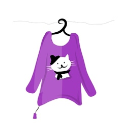 Sweater on hangers with funny cat design vector image