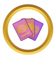 Three passports icon vector