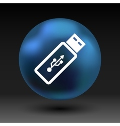 usb flash drive icon on a grey flat button vector image
