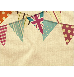 Vintage bunting over crumpled material vector
