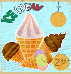 Vintage card with a picture of ice cream vector