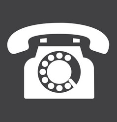 Vintage phone solid icon contact us and website vector