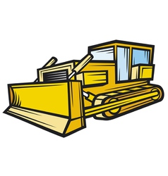 yellow caterpillar building bulldozer vector image vector image