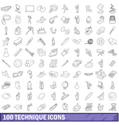 100 technique icons set outline style vector image